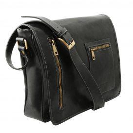 イタリア製本牛革ベジタブルタンニンレザーのPC搬送メッセンジャーバッグ、ブラック、黒、詳細1