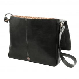 イタリア製本牛革ベジタブルタンニンレザーのPC搬送メッセンジャーバッグ、ブラック、黒、詳細2