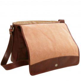 イタリア製本牛革ベジタブルタンニンレザーのPC搬送メッセンジャーバッグ、ブラウン、茶色、詳細4