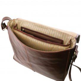 イタリア製本牛革ベジタブルタンニンレザーのPC搬送メッセンジャーバッグ、ブラウン、茶色、詳細5