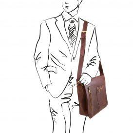 イタリア製本牛革ベジタブルタンニンレザーのPC搬送メッセンジャーバッグ、ブラウン、茶色、詳細7