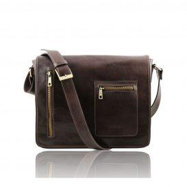 イタリア製本牛革ベジタブルタンニンレザーのPC搬送メッセンジャーバッグ、ダークブラウン、こげ茶色