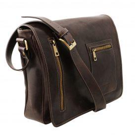 イタリア製本牛革ベジタブルタンニンレザーのPC搬送メッセンジャーバッグ、ダークブラウン、こげ茶色、詳細1