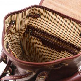 イタリア製ベジタブルタンニンレザーのリュック、サイドポケット、ブラウン、茶色、詳細4