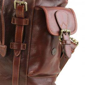 イタリア製ベジタブルタンニンレザーのリュック、サイドポケット、ブラウン、茶色、詳細6