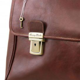 イタリア製本牛革ベジタブルタンニンレザーのPC搬送バッグ TRIESTE、ブラウン、茶色、詳細5