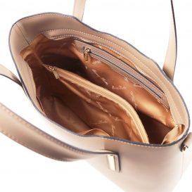 イタリア製OLIMPIA ルーガ・カーフレザーの2WAYショッピングバッグ(大)ライトトープ、トープ、グレージュ、ベージュグレイ、詳細4