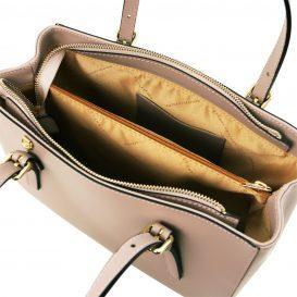 イタリア製AURA ルーガ・カーフレザーの2WAYハンドバッグ、ライトトープ、トープ、詳細3