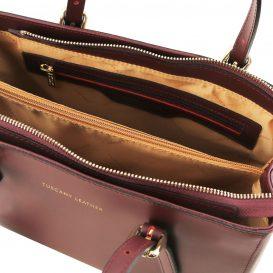 イタリア製スムースレザー2WAYハンドバッグ AURA、ボルドー、詳細3