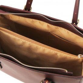 イタリア製スムースレザー2WAYハンドバッグ AURA、ボルドー、詳細4