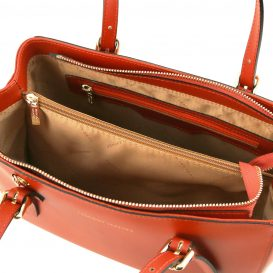 イタリア製スムースレザーのツーウェイハンドバッグ、ブランデー、詳細3