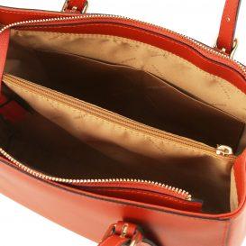 イタリア製スムースレザーのツーウェイハンドバッグ、ブランデー、詳細4
