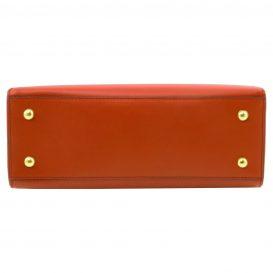 イタリア製スムースレザーのツーウェイハンドバッグ、ブランデー、詳細5