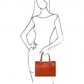 イタリア製スムースレザーのツーウェイハンドバッグ、ブランデー、詳細6