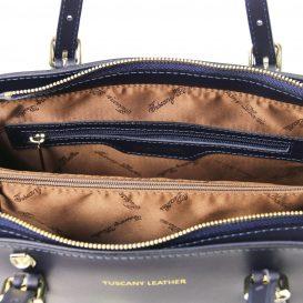 イタリア製スムースレザー2WAYハンドバッグ AURA、ダークブルー、詳細3