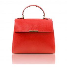 イタリア製サフィアーノ・カーフレザーの2WAYハンドバッグ TL BAG、ルージュ、ライトレッド、レッド、赤