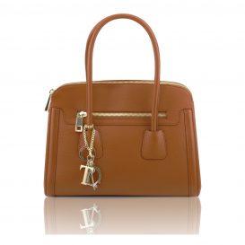 イタリア製本革シボ加工カーフレザーの2Wayハンドバッグ、コニャック