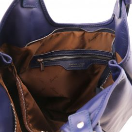 イタリア製GINA 柔らかいソヴァージュレザーのボーホーバッグ、ダークブルー、ネイビー、詳細2