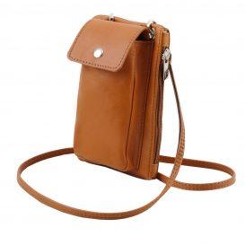 イタリア製本革のスマートフォン・財布ショルダーバッグTL BAG、コニャック、キャメル、詳細1
