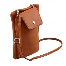 イタリア製本革のスマートフォン・財布ショルダーバッグTL BAG、コニャック、キャメル、詳細2