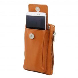 イタリア製本革のスマートフォン・財布ショルダーバッグTL BAG、コニャック、キャメル、詳細3