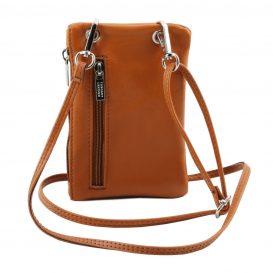 イタリア製本革のスマートフォン・財布ショルダーバッグTL BAG、コニャック、キャメル、詳細4