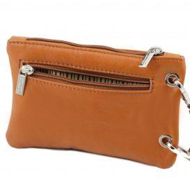 イタリア製本革のスマートフォン・財布ショルダーバッグTL BAG、コニャック、キャメル、詳細5