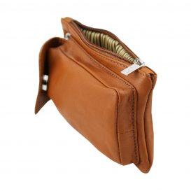 イタリア製本革のスマートフォン・財布ショルダーバッグTL BAG、コニャック、キャメル、詳細6
