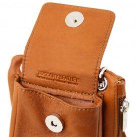 イタリア製本革のスマートフォン・財布ショルダーバッグTL BAG、コニャック、キャメル、詳細7
