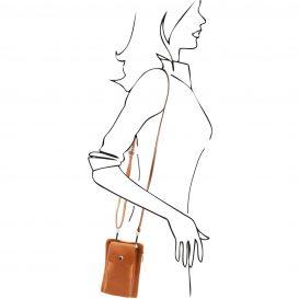 イタリア製本革のスマートフォン・財布ショルダーバッグTL BAG、コニャック、キャメル、詳細8