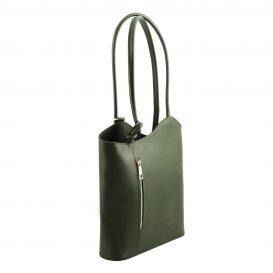 イタリア製サフィアーノレザー・リュック&ショルダー2way バッグ PATTY、グリーン、詳細1