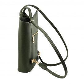 イタリア製サフィアーノレザー・リュック&ショルダー2way バッグ PATTY、グリーン、詳細3