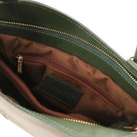 イタリア製サフィアーノレザー・リュック&ショルダー2way バッグ PATTY、グリーン、詳細4