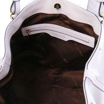 イタリア製シボ型押しレザーの2WAYハンドバッグAMBROSIA、ホワイト、詳細2