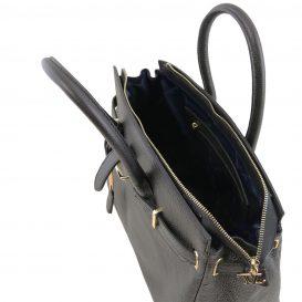 イタリア製シボ型押しレザーのエレガントなハンドバッグTL BAG、ブラック、詳細3