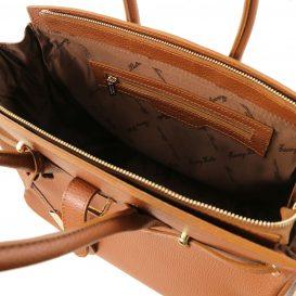 イタリア製シボ加工カーフレザーのエレガントなハンドバッグTL BAG、コニャック、詳細3