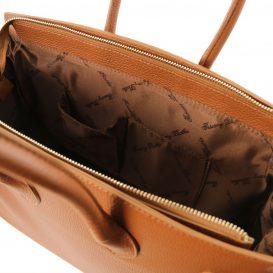 イタリア製シボ加工カーフレザーのエレガントなハンドバッグTL BAG、コニャック、詳細4