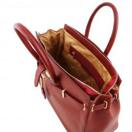 イタリア製シボ加工カーフレザーのエレガントなハンドバッグTL BAG、レッド、詳細3