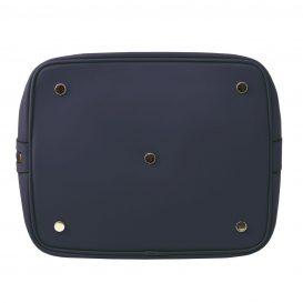イタリア製 スムースレザーの2WAY巾着バッグ、ダークブルー、詳細4