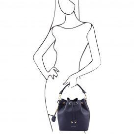 イタリア製 スムースレザーの2WAY巾着バッグ、ダークブルー、詳細5