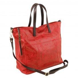 イタリア製ヴィンテージ調レザーの2WAYトートバッグ ANNIE、レッド、赤、詳細1