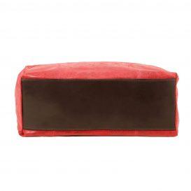 イタリア製ヴィンテージ調レザーの2WAYトートバッグ ANNIE、レッド、赤、詳細2