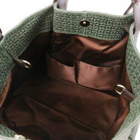 イタリア製イントレチャート編み込み風スウェードのトートバッグ(大) TL KeyLuck、グリーン、詳細3