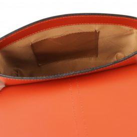 イタリア製カーフレザー・スムースレザーの2WAYショルダーバッグ、ハンドバッグ、NAUSICA、ブランデー、詳細4