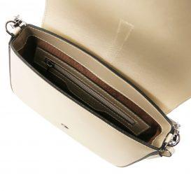イタリア製NAUSICA メタリック・カーフレザーの2WAYハンドバッグ、ショルダーバッグ、ゴールド、金、シャンパンゴールド、詳細3