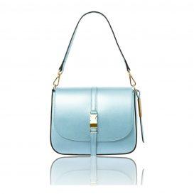 イタリア製NAUSICA メタリック・カーフレザーの2WAYハンドバッグ、ショルダーバッグ、ライトブルー、水色、パステルブルー