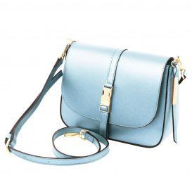 イタリア製NAUSICA メタリック・カーフレザーの2WAYハンドバッグ、ショルダーバッグ、ライトブルー、水色、パステルブルー、詳細1