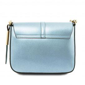 イタリア製NAUSICA メタリック・カーフレザーの2WAYハンドバッグ、ショルダーバッグ、ライトブルー、水色、パステルブルー、詳細2