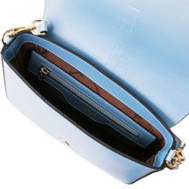 イタリア製NAUSICA メタリック・カーフレザーの2WAYハンドバッグ、ショルダーバッグ、ライトブルー、水色、パステルブルー、詳細3