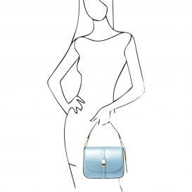 イタリア製NAUSICA メタリック・カーフレザーの2WAYハンドバッグ、ショルダーバッグ、ライトブルー、水色、パステルブルー、詳細4